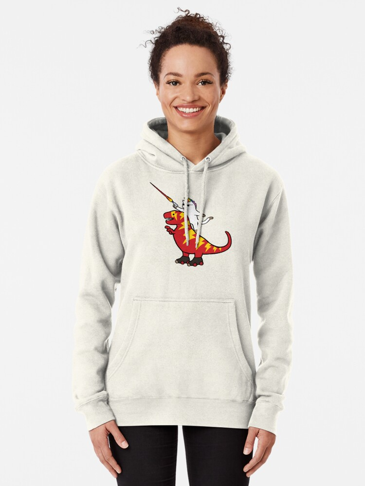 Alternate view of Unicorn Cat Riding Lightning T-Rex Pullover Hoodie