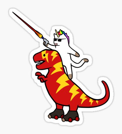 Unicorn Cat Riding Lightning T-Rex Sticker