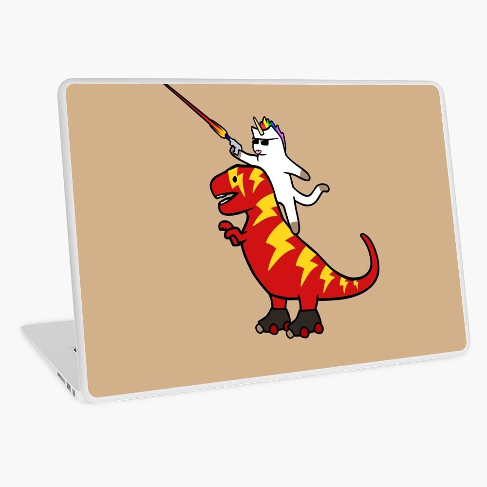 Unicorn Cat Riding Lightning T-Rex Laptop Skin