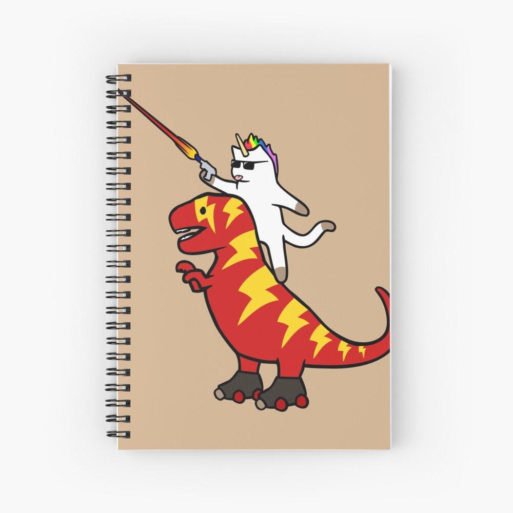 Einhorn Katze Reiten Blitz T-Rex Spiralblock