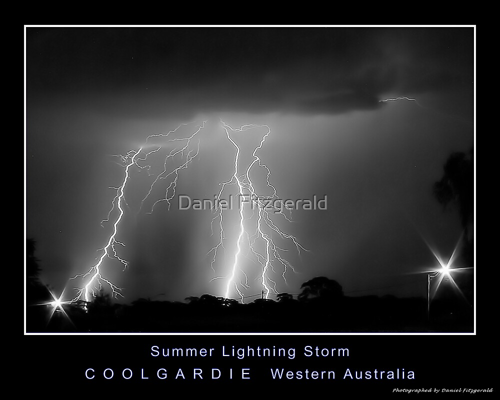 Coolgardie Summer LIghtning Storm BW by Daniel Fitzgerald