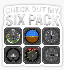 Check Out My Six Pack Aviation Funny Fake Muscle Sticker