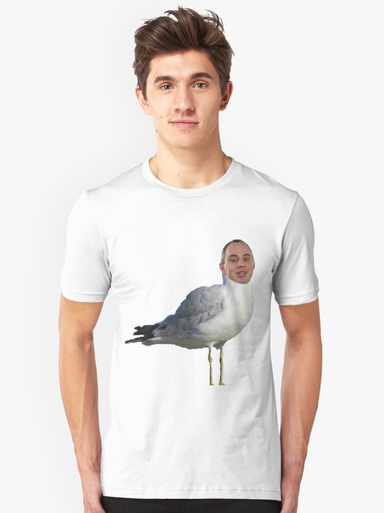 A guy's head on a seagull Unisex T-Shirt Front