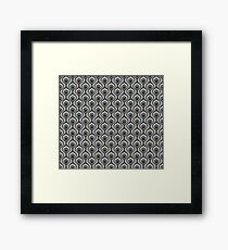 Gray, Blue, and Brown Geometric Retro 1960s Pattern Framed Print