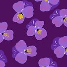 Pretty Pansies on Plum by inkandstardust