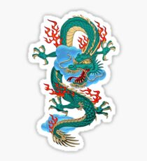 The Great Dragon Spirits - Turquoise Dragon on Red Silk Sticker