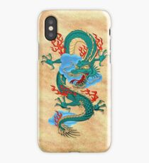 The Great Dragon Spirits - Turquoise Dragon on Rice Paper iPhone Case/Skin