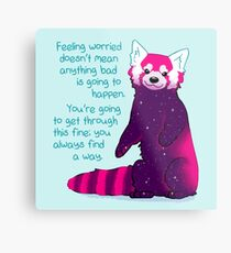 """""""Feeling Worried Doesn't Mean Anything Bad Is Going to Happen"""" Galaxy Red Panda Metal Print"""