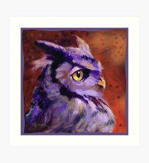 Fun Purple Owl Profile Art Print