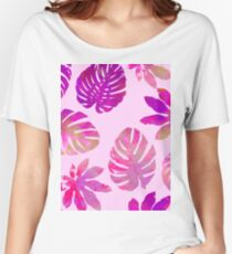 """""""Monstera Fucshia"""" #Neon #Tropical #Vibrant #80s #Fluorescent #Electric #Watercolor Women's Relaxed Fit T-Shirt"""