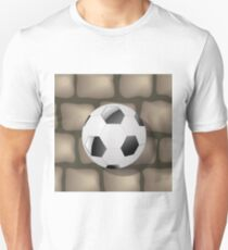 Soccer Ball on a Gray Brick Background for your Design. T-Shirt