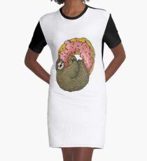 Sloth and Donut pixelated Graphic T-Shirt Dress