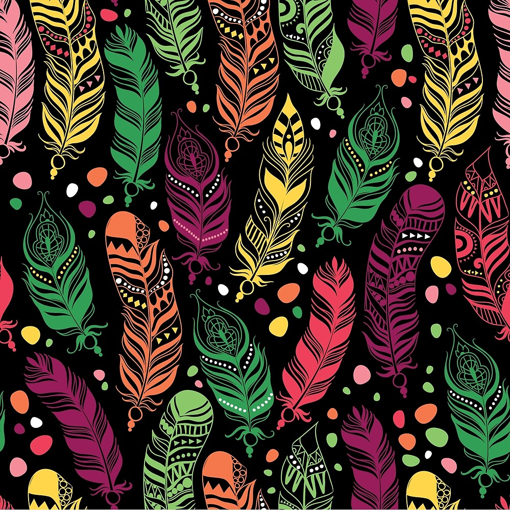 Ethnic feathers seamless pattern. by Angelinadesol