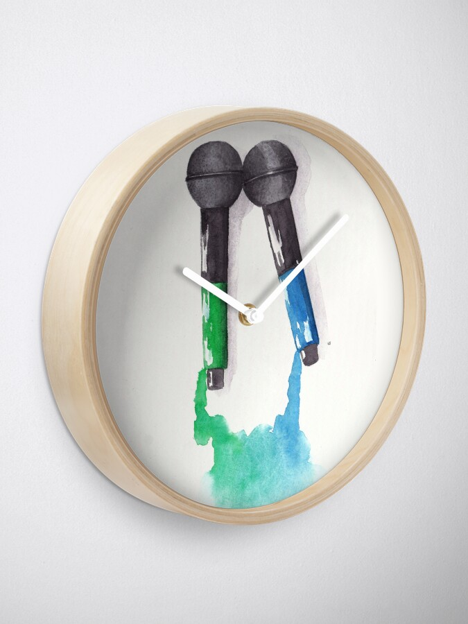 Alternate view of Larrying Mics (Green and Blue) Clock