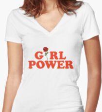 Girl Power Rose Feminism Women's Fitted V-Neck T-Shirt