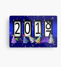 New Years Odometer Party Hats Metal Print