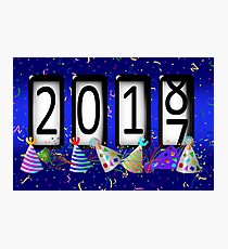 New Years Odometer Party Hats Photographic Print