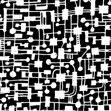 Abstract Pattern 020517 - White on Black by Artberry