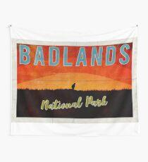 Badlands National Park - Prairie Dog Sunrise - Vintage Design Wall Tapestry