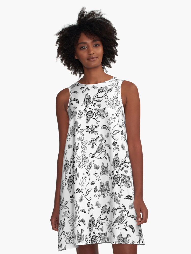 Black and White Bird Pattern A-Line Dress Front