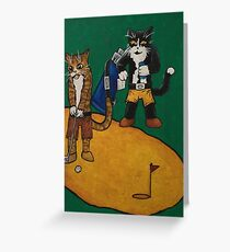 Golf Putting Cats Greeting Card