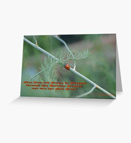 Holiday Blessings; Ladybug on asapragus - La Mirada, CA USA Greeting Card