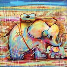 musical rainbow elephants by Karin Taylor