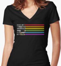 Lichtschwert Regenbogen Shirt mit V-Ausschnitt
