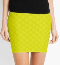 Neon Yellow Puffy Stitch Quilt Mini Skirt