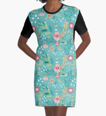 Turquoise Floral Graphic T-Shirt Dress