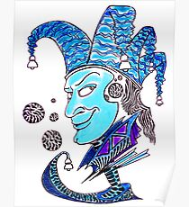 Clown surreal pen ink and pastel drawing Poster