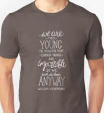 Do Impossible Things Quote - William Wilberforce - White on Grey Unisex T-Shirt