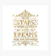 Zu den Sternen, die zuhören - weiß Fotodruck