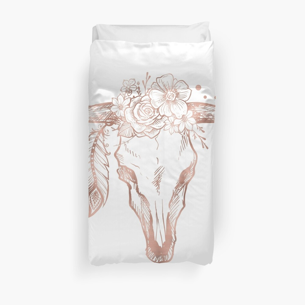 Rose Gold Bull Skull mit rosa Federblumen Bettbezug