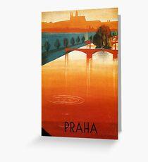 Vintage poster Prague Greeting Card