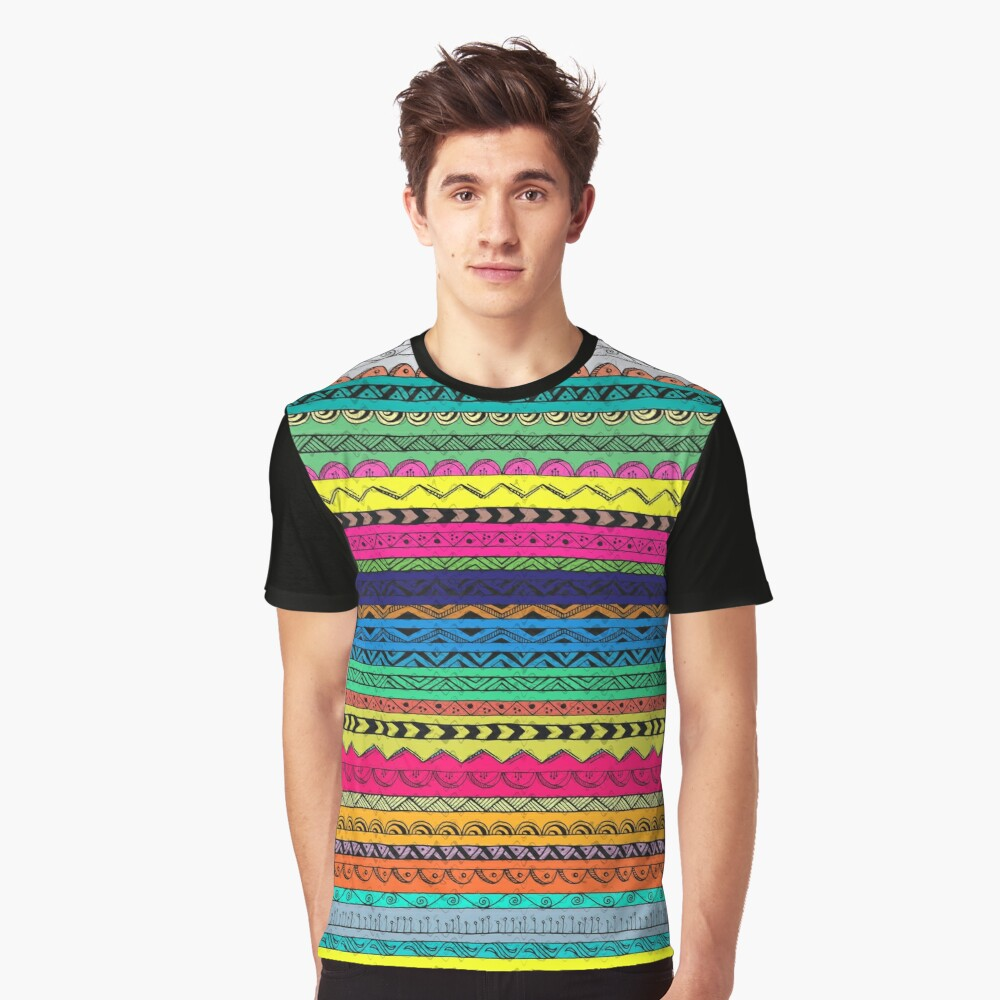 Multi Color Pattern Graphic T-Shirt Front
