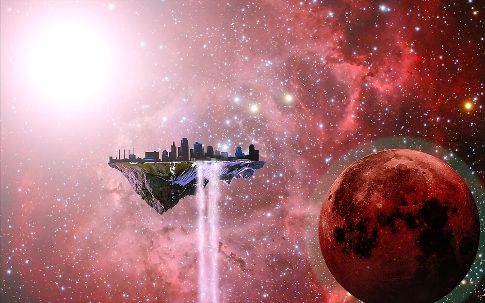 Floating Castle Scene in Space by Ingogliajv