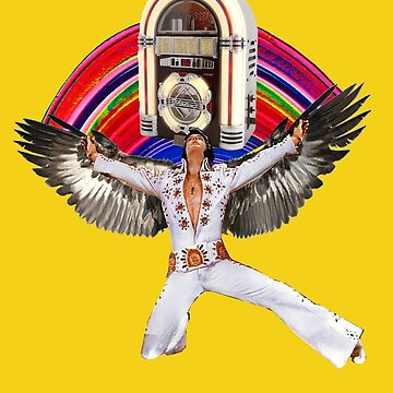 Elvis Brings Forth the Jukebox from the Rainbow in His Magnificent Wings by zandozan