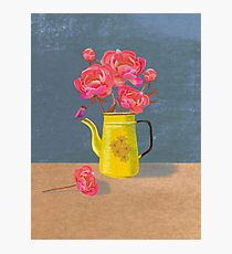 Yellow kettle filled with love Photographic Print
