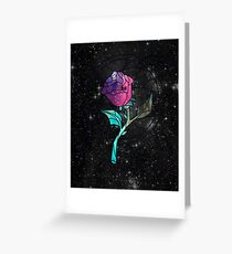 Stained Glass Rose Galaxy Greeting Card