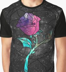 Stained Glass Rose Galaxy Graphic T-Shirt