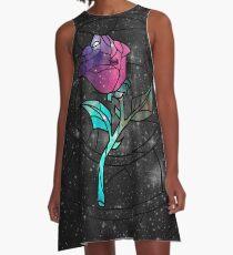 Buntglas-Rosen-Galaxie A-Linien Kleid