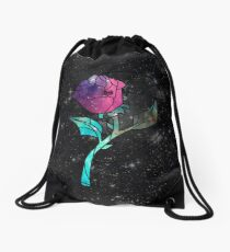Stained Glass Rose Galaxy Drawstring Bag