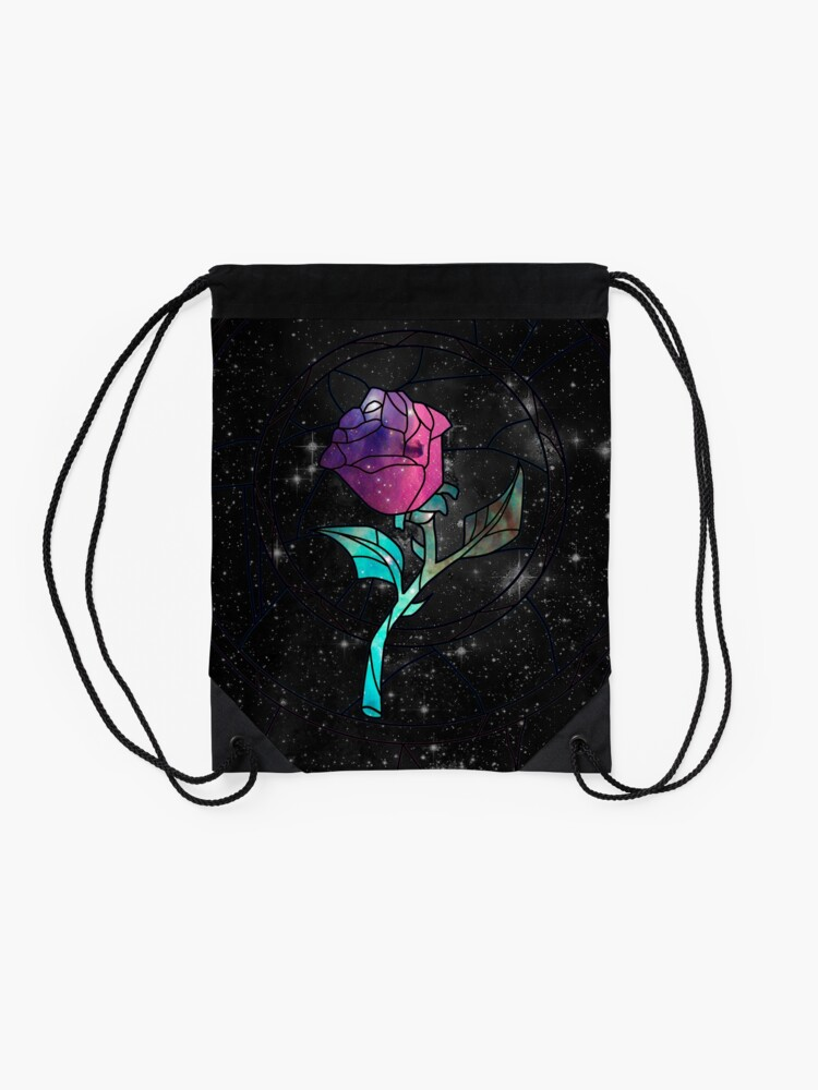 Alternate view of Stained Glass Rose Galaxy Drawstring Bag