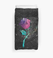 Stained Glass Rose Galaxy Duvet Cover