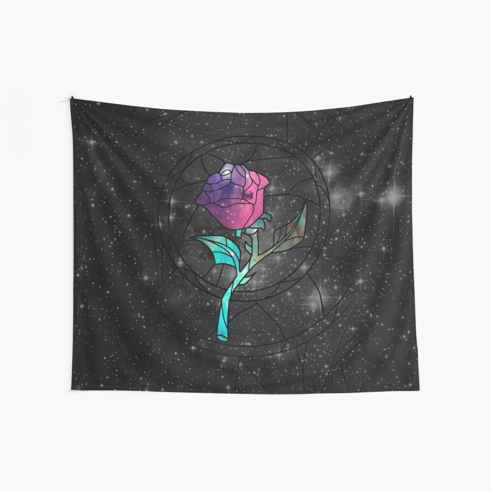 Stained Glass Rose Galaxy Wall Tapestry