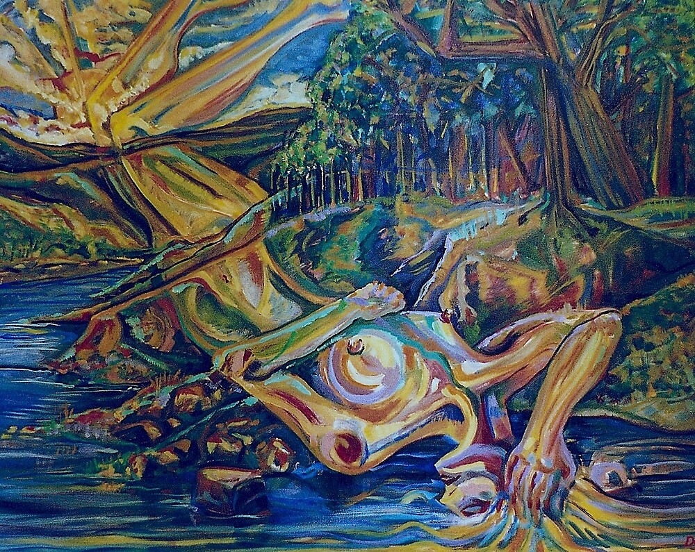 Woman of the Riverbank (Oils)- by Robert Dye