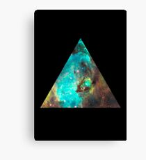 Green Galaxy Triangle Canvas Print