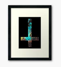 Green Galaxy Inverted Cross Framed Print