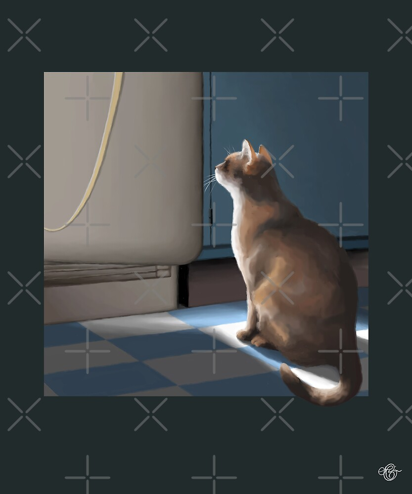 Cat and Fridge by Martine Carlsen